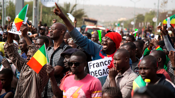 A protest earlier in the year called for the departure of French troops from Mali
