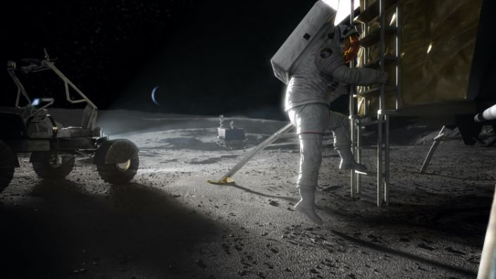 """An artist's concept of NASA astronauts returning to the surface of the moon. <p class=""""copyright""""><a href=""""https://www.nasa.gov/feature/nasa-selects-blue-origin-dynetics-spacex-for-artemis-human-landers"""" rel=""""nofollow noopener"""" target=""""_blank"""" data-ylk=""""slk:NASA"""" class=""""link rapid-noclick-resp"""">NASA</a></p>"""