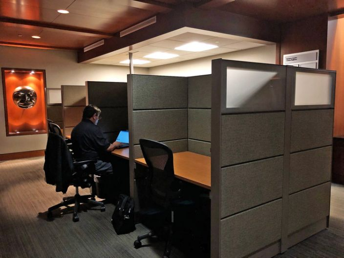 """An Air Canada employee works in an office cubicle. <p class=""""copyright"""">Rachel Askinasi/Business Insider</p>"""