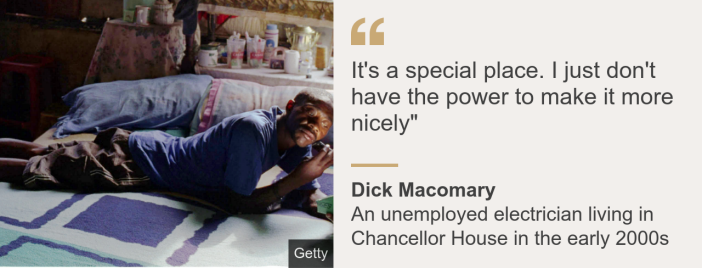 """Quote card. Dick Macomary: """"It's a special place. I just don't have the power to make it more nicely"""""""