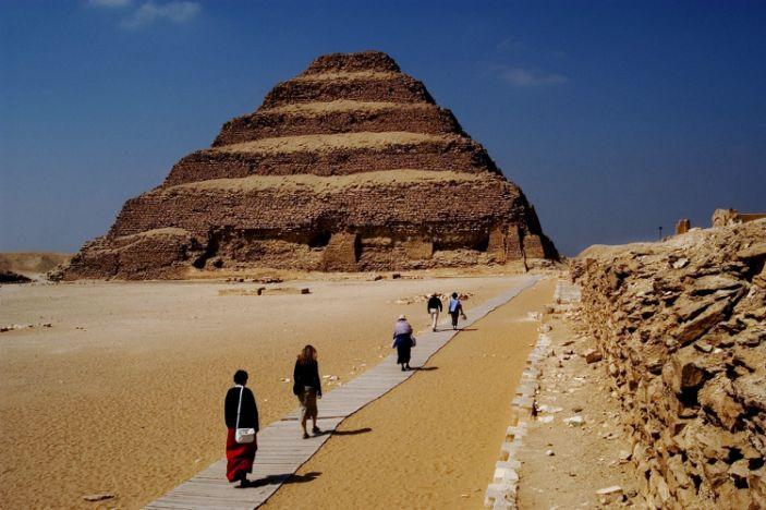 "The Step Pyramid of Djoser in Saqqara. <p class=""copyright"">Michel Baret/Gamma-Rapho / Getty</p>"
