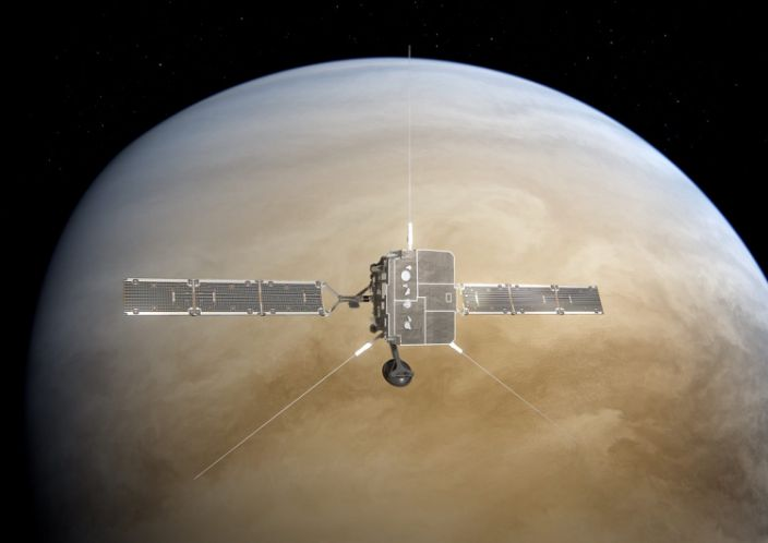 "An artist's impression of the Solar Orbiter, a sun-observing satellite developed by the European Space Agency, flying around Venus. <p class=""copyright""><a href=""https://sci.esa.int/web/solar-orbiter/-/solar-orbiter-venus-flyby"" rel=""nofollow noopener"" target=""_blank"" data-ylk=""slk:ESA/ATG medialab"" class=""link rapid-noclick-resp"">ESA/ATG medialab</a></p>"