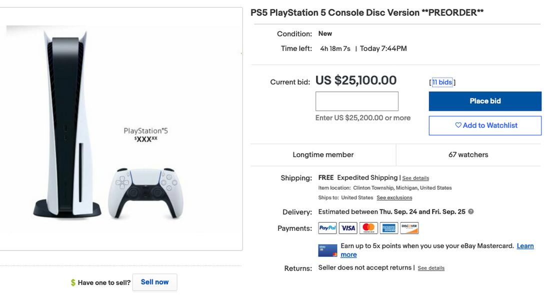 PlayStation 5 ebay listing