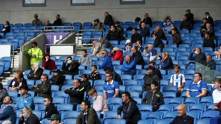 Socially distanced fans watch Brighton and hove Albion play Chelsea in a pre-season friendly.