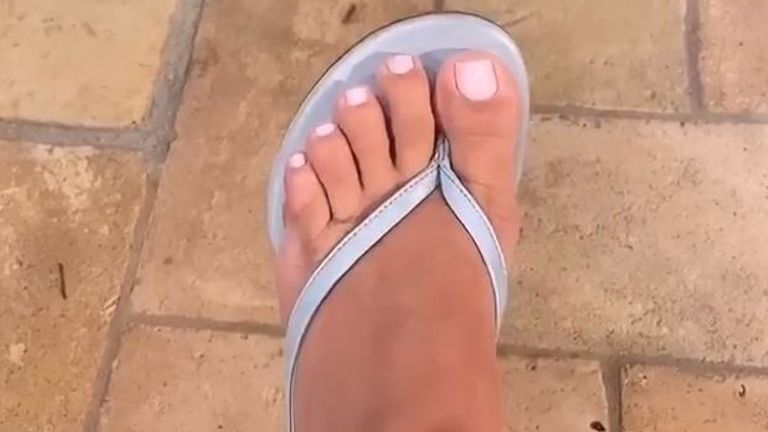Kim Kardashian has posted a video on Instagram to show she has five toes, not six, on each foot. Pic: @kimkardashian