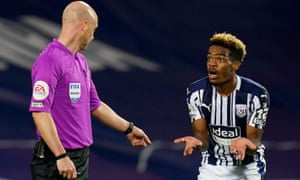 West Bromwich Albion's Grady Diangana remonstrates with referee Anthony Taylor.