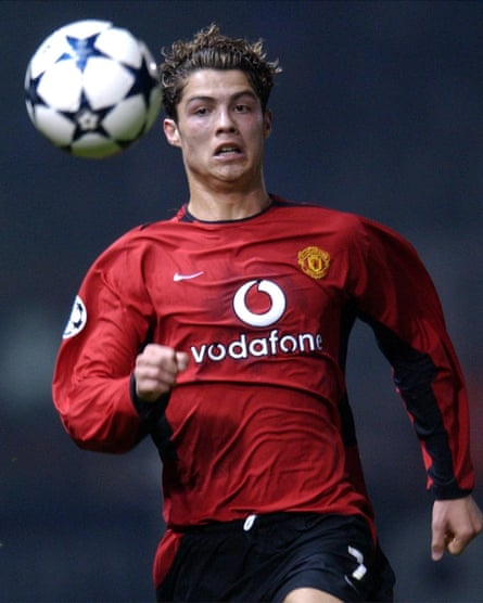 Cristiano Ronaldo playing for Manchester United in 2003