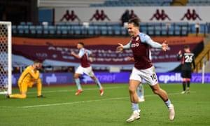 Grealish celebrates scoring in Aston Villa's thrashing of Liverpool