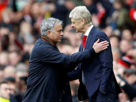 Wenger and Mourinho after an Arsenal-Manchester United match at Old Trafford in April 2018.