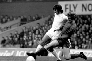 Middlesbrough's Bill Gates tackles Manchester United's George Best during their FA Cup quarter final game in February 1970.
