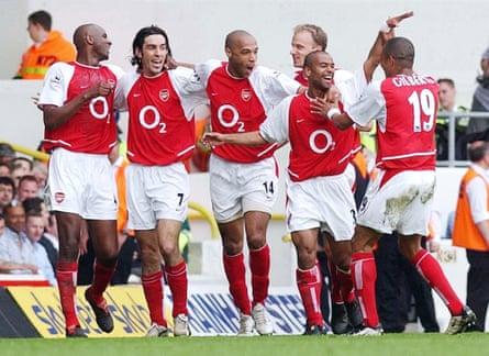 Arsenal's Invincible season: Wenger's unbeaten league champions – (l-r) Viera, Pires, Henry, Bergkamp, Cole, Gilberto – 25 April 2004.
