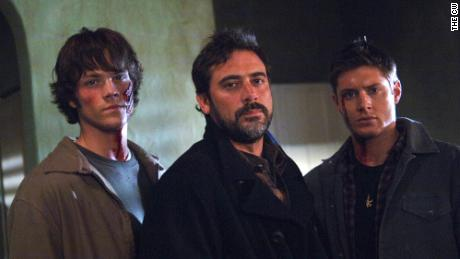 "A scene from an early episode of ""Supernatural."" Pictured are Jared Padalecki, guest star Jeffrey Dean Morgan and Jensen Ackles."