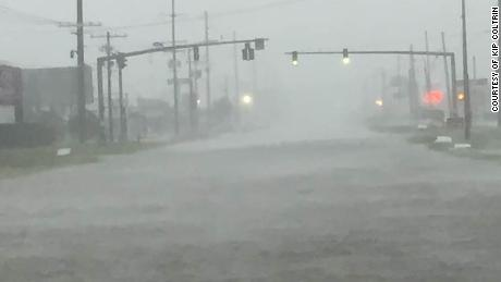Hurricane Delta floods the gulf coastal town of Sulphur, Louisiana.