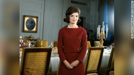 Jacqueline Kennedy in the White House during the filming of CBS News' 1962 tour.