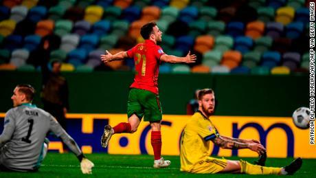 Diogo Jota celebrates scoring against Sweden.