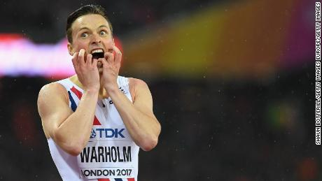 Warholm reacts in disbelief after winning world championship gold in London, UK, in 2017.