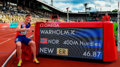 Warholm celebrates a new European record during the Diamond League meet in Stockholm, Sweden, in August.
