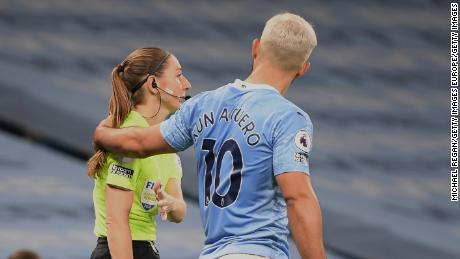 Sergio Aguero put his hand on assistant referee Sian Massey-Ellis during a game on Saturday.