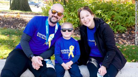 Kolt Codner and his family smile for a photo after completing his marathon race for Akron Children's Hospital.