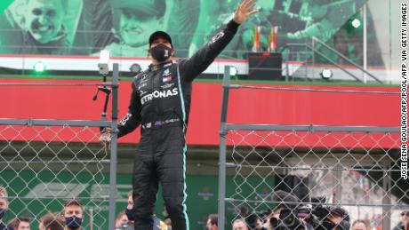 Hamilton celebrates after winning the Portuguese Grand Prix.