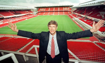 Wenger arrives at Highbury for his introductory press conference in 1996.