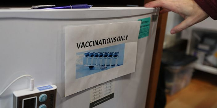 BOSTON, MA - JANUARY 2: The refrigerator which contains vaccines is pictured in the Care ZONE van of the Kraft Center for Community Health in Boston on Jan. 2, 2019. Dr. Jessie Gaeta, the Chief Medical Officer of the Boston Health Care for the Homeless Program, sometimes works out of the outreach van. (Photo by Suzanne Kreiter/The Boston Globe via Getty Images)