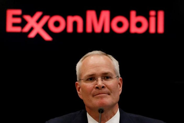 """Darren Woods, Chairman & CEO, Exxon Mobil Corporation attends a news conference at the NYSE <span class=""""copyright"""">Reuters</span>"""