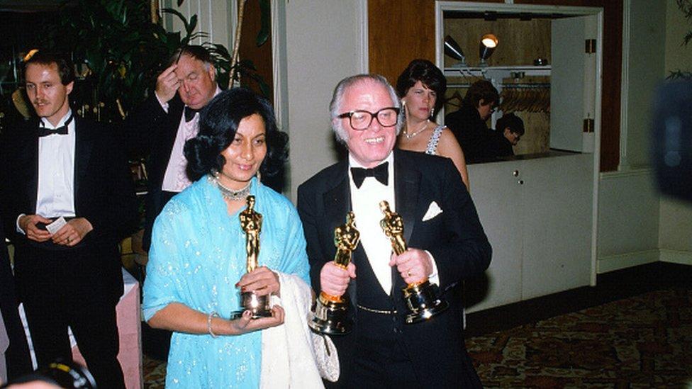 Director Richard Attenborough poses with Bhanu Athaiya