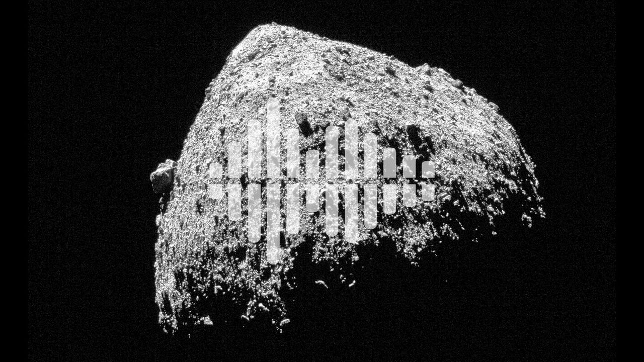 asteroid Bennu with podcast symbol overlay