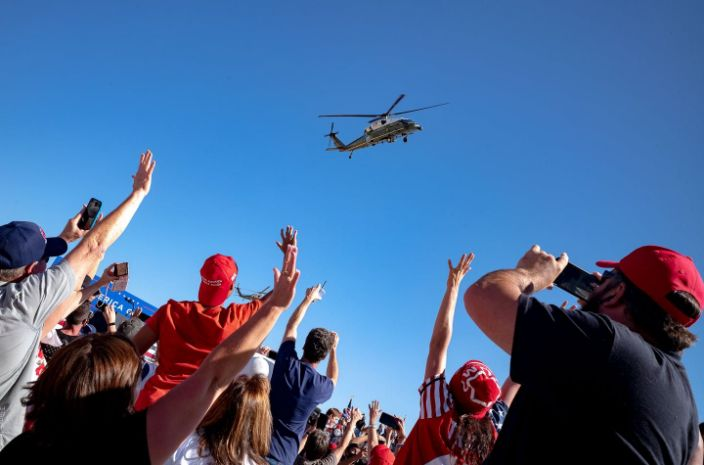 "<span class=""caption"">Will Trump voters -- like these at a rally, waving goodbye to him as he leaves -- defy the polls and send him back to the White House?</span> <span class=""attribution""><a class=""link rapid-noclick-resp"" href=""https://www.gettyimages.com/detail/news-photo/supporters-wave-as-marine-one-with-us-president-donald-news-photo/1229174276?adppopup=true"" rel=""nofollow noopener"" target=""_blank"" data-ylk=""slk:Olivier Touron/AFP/Getty Images"">Olivier Touron/AFP/Getty Images</a></span>"