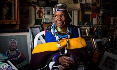 Esther Mahlangu poses at her home in Mabhoko village, Mpumalanga