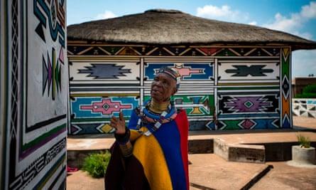 Esther Mahlangu outside her home in Mpumalanga.