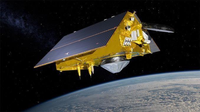 An artist's impression of the Sentinel-6 Michael Freilich satellite in orbit. / Credit: NASA